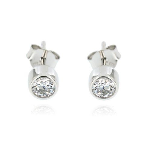Dámské stříbrné náušnice s bílými kamínky 9948B