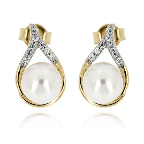 Zlaté perlové dámské náušnice 019