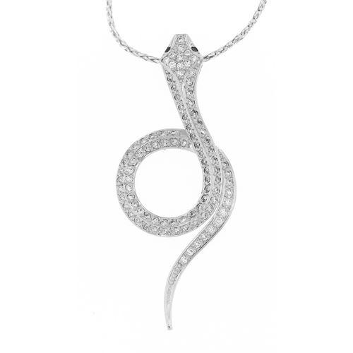 Diamantový přívěsek had z bílého zlata 28853