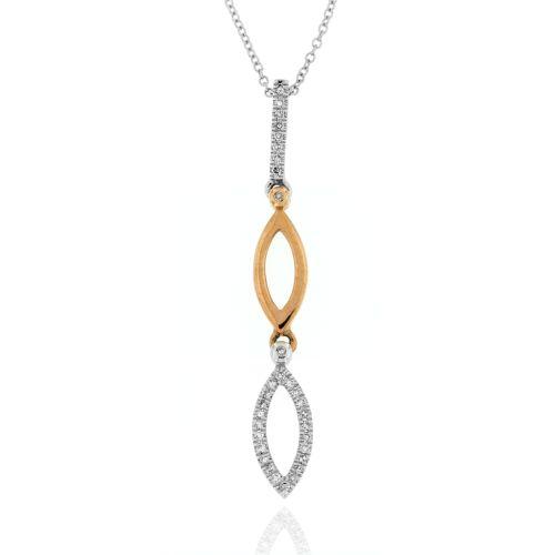 Diamantový náhrdelník v kombinaci bílého a růžového zlata 19913