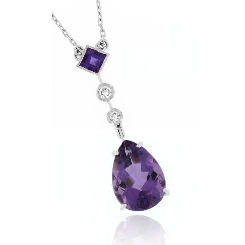 Diamantový náhrdelník s ametysty 19624