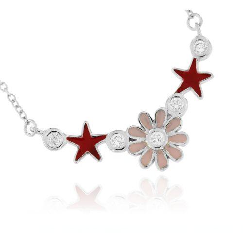 Stříbrný dámský náhrdelník s barevným smaltem 056