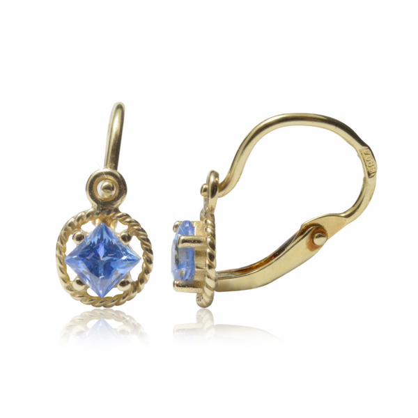 Dětské zlaté náušnice s modrým kamínkem 23600969M