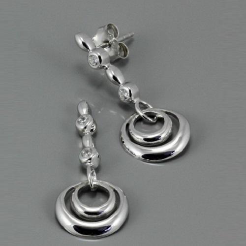 Stříbrné visací náušnice se zirkony 314AE12