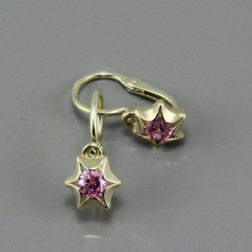 Dětské zlaté náušničky růžové hvězdičky 2159