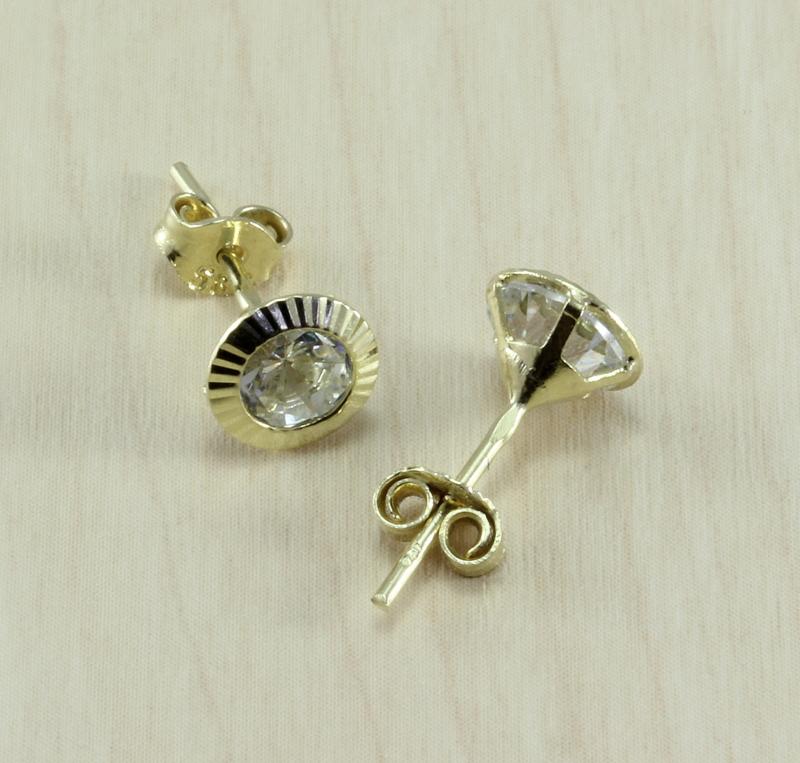 Zlaté dámské náušnice se zirkonem 01512