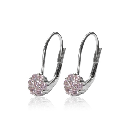 Dámské stříbrné náušnice kytičky WTE0690 růžové