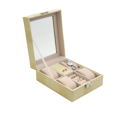 JK BOX SP-1810/A20, Dámská kazeta na hodinky a šperky krémová