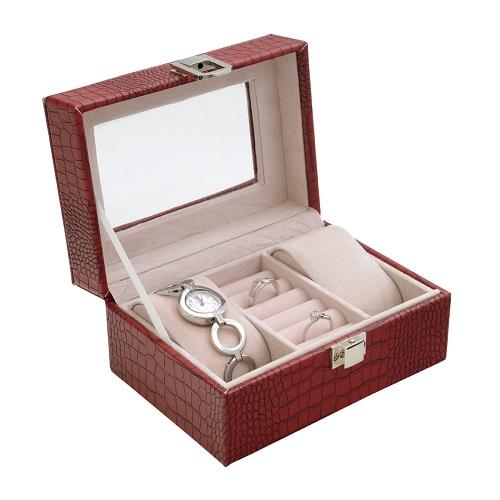 JK BOX SP-1813/A7, Dámská kazeta na hodinky a šperky červená