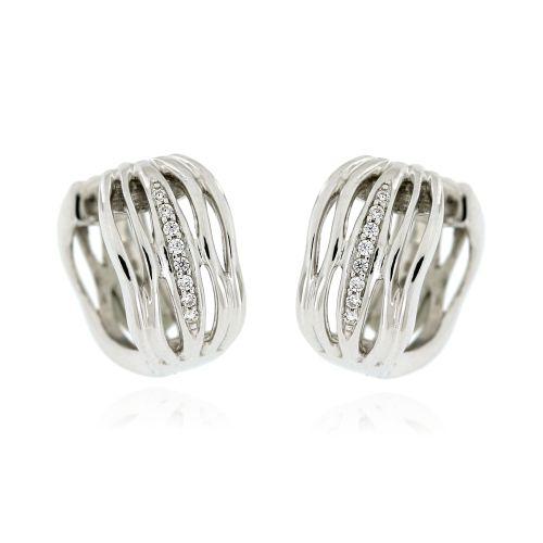 76aeb5a92 Stříbrné náušnice kroužky s bílými zirkony AE10626