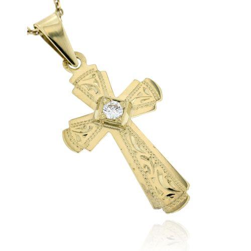 Zlatý přívěsek křížek 574