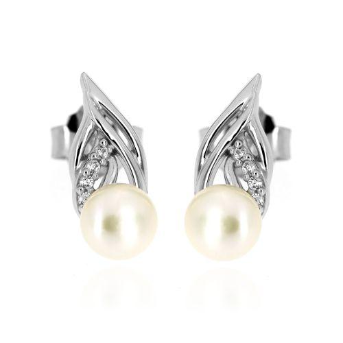 Stříbrné náušnice lístečky s perlou FMR