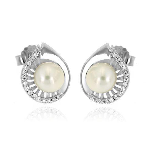 Stříbrné náušnice s perlou 815ZW