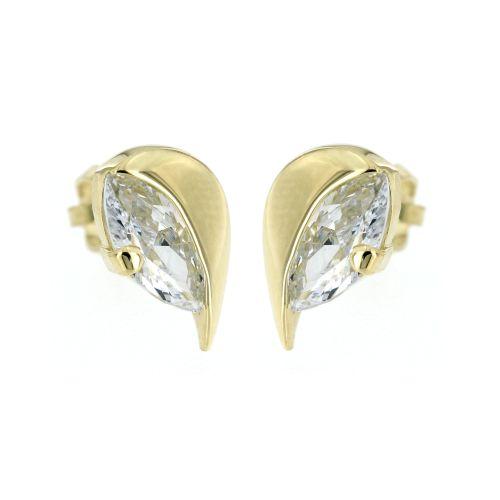Zlaté náušnice lístečky s bílým kamínkem 106