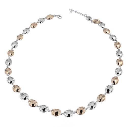 Stříbrný náhrdelník s pozlacením rose gold 1373