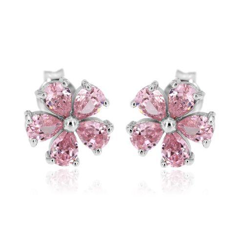 Stříbrné kytičky s růžovými kamínky 05