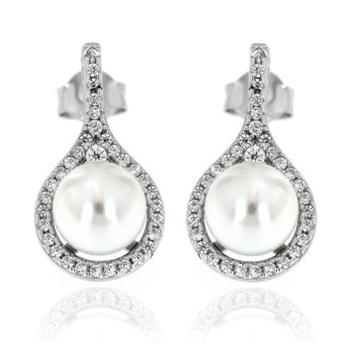 Stříbrné náušnice s perlou 02