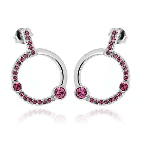 Stříbrné náušnice růžové kroužky 451