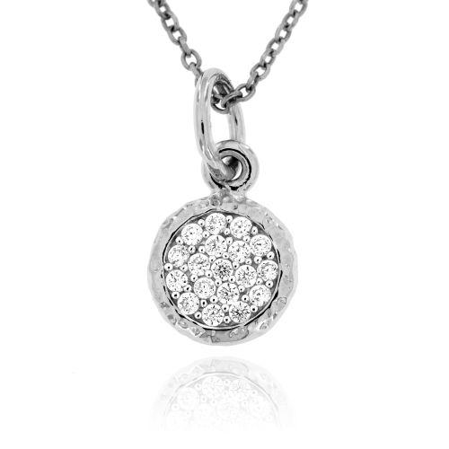Stříbrný přívěsek s bílými kamínky 023