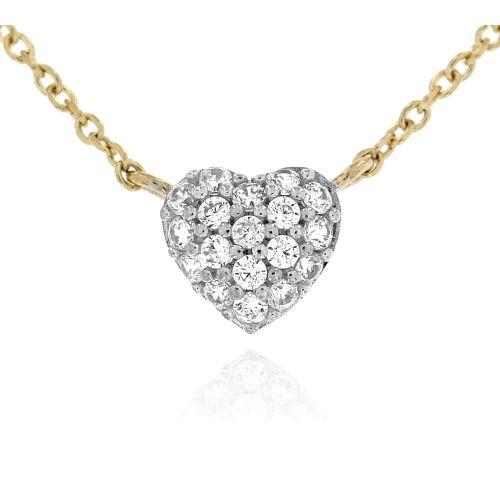 Zlatý náhrdelník srdíčko s bílými zirkony 53