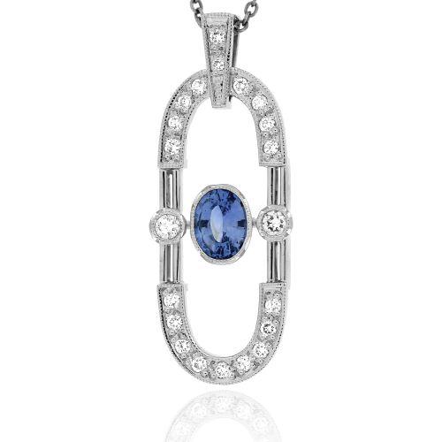Dámský zlatý přívěsek se safírem a diamanty 34633