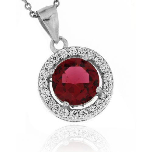 Stříbrný přívěsek s červeným kamínkem 3614