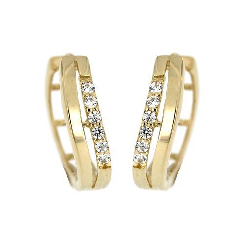 Zlaté kroužky s bílými kamínky 497