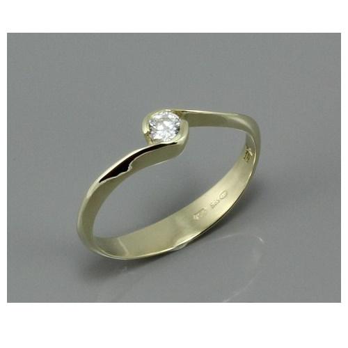 c43f041c9 Zlatý zásnubní prsten s bílým zirkonem 1914