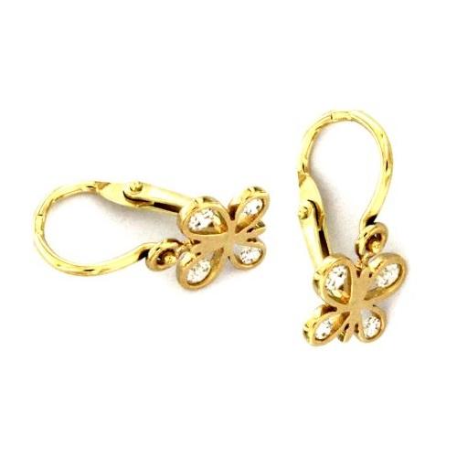 Dětské zlaté náušnice motýlek 239100293B