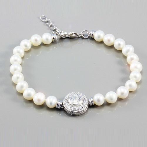 Dámský stříbrný perlový náramek 3140175