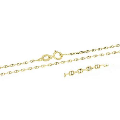 Klasický zlatý řetízek zdobený ankr - 38 cm