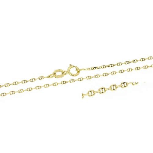 Klasický zlatý řetízek zdobený ankr - 42 cm