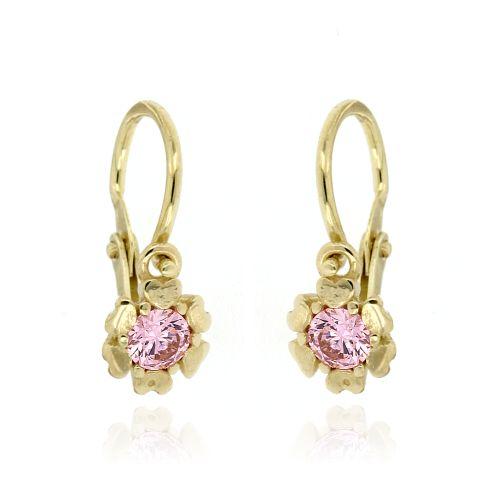 Dětské zlaté náušnice růžové kytičky 23600101021