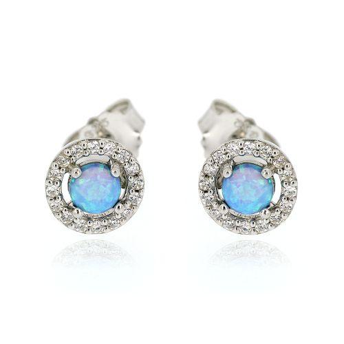 Dámské stříbrné náušnice s modrým opálem 11150