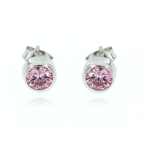Dámské náušnice s růžovým kamínkem 4095R