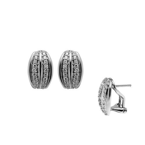 Dámské stříbrné náušnice posázené kamínky 3142421