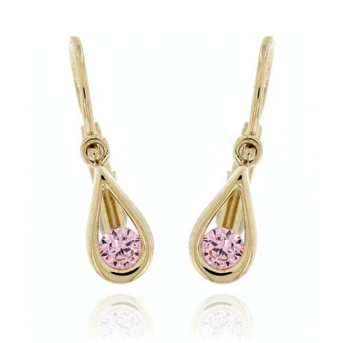 Zlaté náušnice pro miminko s růžovým kamínkem 5246