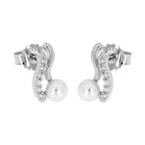 Stříbrné náušnice notičky s perlou 979