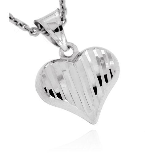 Zlatý přívěsek srdce z bílého zlata 3668B
