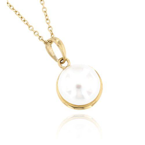 Zlatý dámský přívěsek s perlou 143