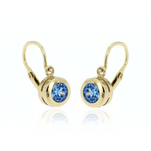 Zlaté náušnice pro miminko s modrým kamenem 703 Mz