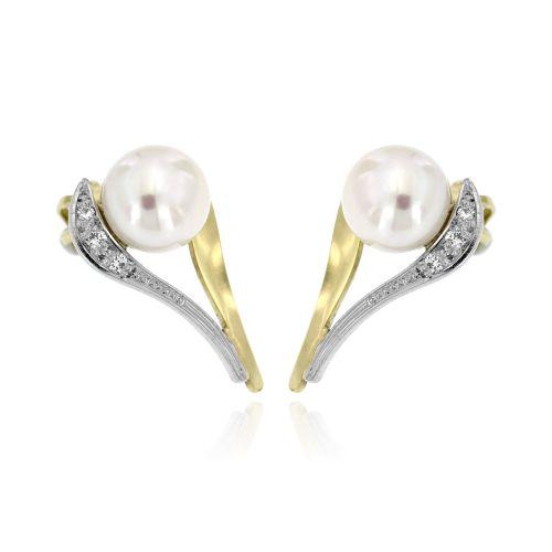 Diamantové náušnice s perlou 32265