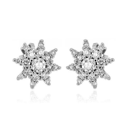 Zlaté diamantové náušnice hvězdičky 34001