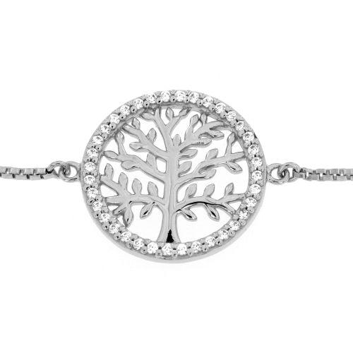 Stříbrný stahovací náramek strom života