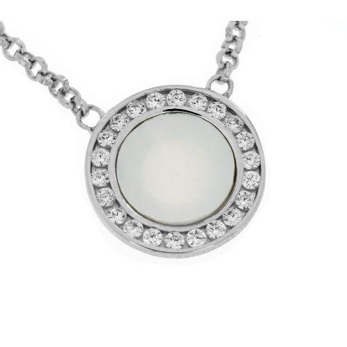 Stříbrný náhrdelník s perletí a zirkony 169
