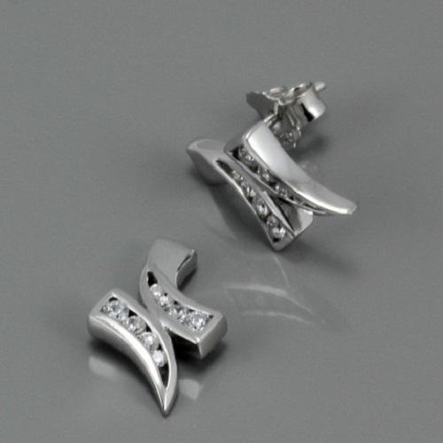 Dámské stříbrné náušnice s bílými zirkony 3140211