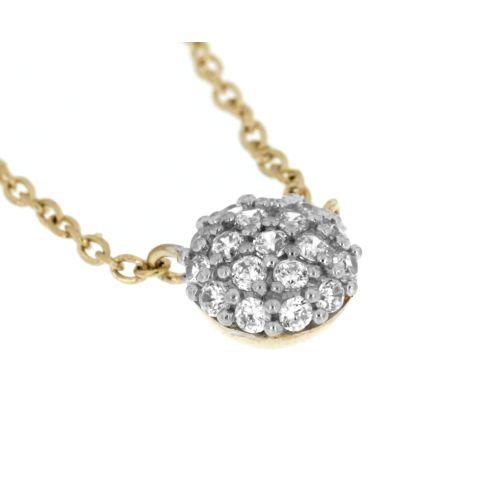 Zlatý náhrdelník pecička s bílými zirkony 48