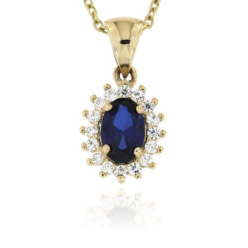 Zlatý přívěsek s modrým kamínkem 090ŽM