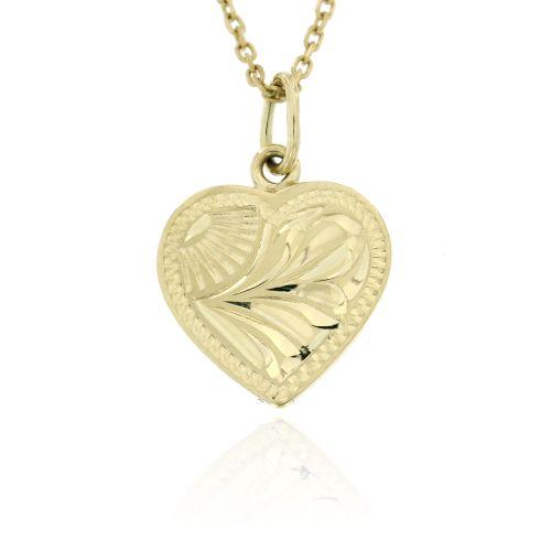 Zlatý přívěsek srdce s ozdobnou rytinou 005ž