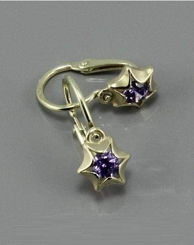 Dětské zlaté náušnice fialové hvězdičky 2159